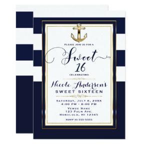 Navy White & Gold Anchor Nautical SWEET 16 Party Invitation