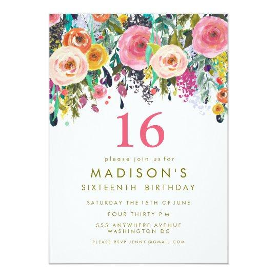 Painted Floral Girls 16th Birthday Invite Sweet Sixteen Invitations