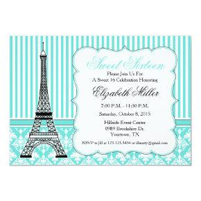 Paris Eiffel Tower Theme Party Teal Invitation