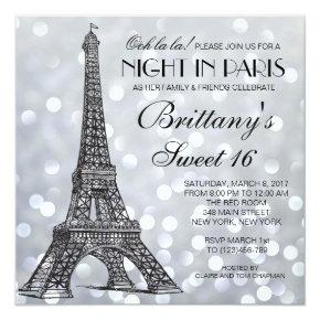 Paris Sweet 16 Silver Glitter Lights Invitation