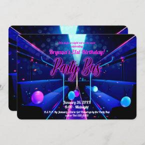Party Bus Glow Party Club Hopping 21st Birthday Invitation