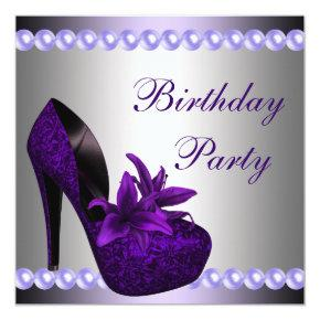 Pearls Purple High Heels Shoes Birthday Party Invitation
