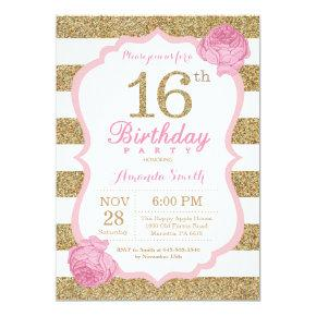 Pink and Gold 16th Birthday Invitation Floral