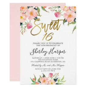 Pink Floral Gold Script Sweet Sixteen 16 Birthday Invitation
