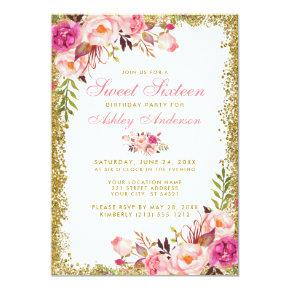 Pink Gold Glitter Floral Sweet 16 Birthday Invite