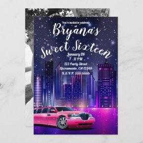 Pink Limo Limousine City Sweet 16 Birthday Photo Invitation