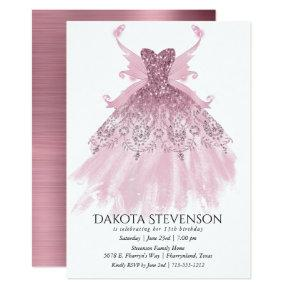 Pink Mauve Sparkling Glitz Pixie Wing Gown | Party Invitation
