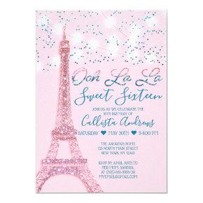 Pink Paris Eiffel Tower Glitter Lights Sweet 16 Invitation