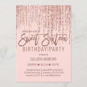 Pink Rose Gold Glitter Fringe Curtain Sweet 16 Invitation