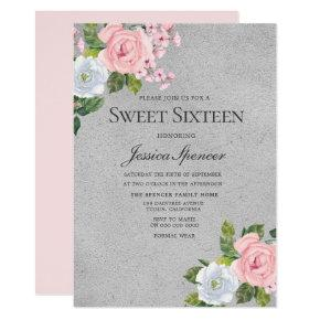 Pink & Silver Cute Roses Sweet 16 Invite