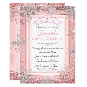 Pink Silver Winter Wonderland Sweet 16 Party Invitation