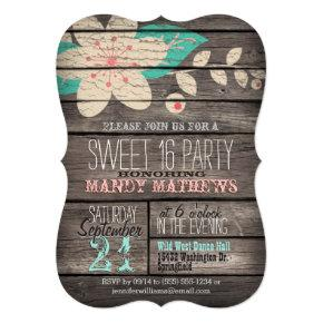 Pink & Turquoise Rustic Wood Sweet 16 Party Invitation