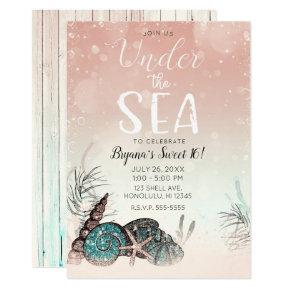 Pink Under the Sea Shells Beach Sweet 16 Party Invitation