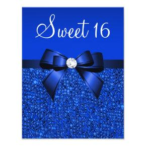Printed Royal Blue Sequins, Bow & Diamond Sweet 16 Invitation