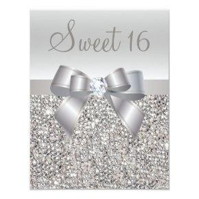 Printed Silver Sequins, Bow & Diamond Sweet 16 Invitation