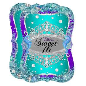 Purple Blue Under The Sea Tiara Sweet 16 Invite