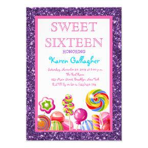 Purple Glitter Candyland Sweet 16 Invitation