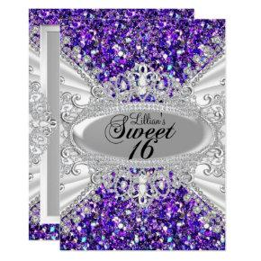Purple Glitter Diamond Tiara Sweet 16 Invite
