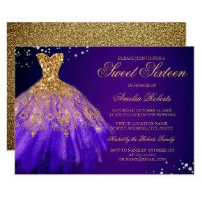 Purple Gold Sparkle Dress Sweet Sixteen Invitation
