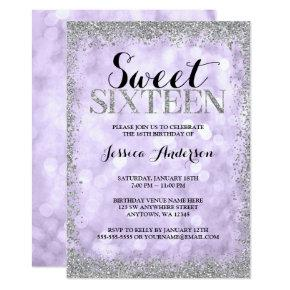 Purple Silver Faux Glitter Lights Sweet 16 Invitation