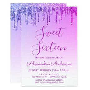Purple Sparkle Glitter Sweet Sixteen Birthday Invitation