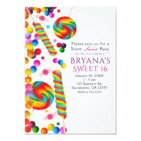 Rainbow Candy Sweet Birthday Party Invitations