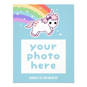 Rainbow Unicorn Birthday Party Photo Invitations