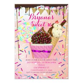 Raining Sprinkles Candy Land Sweet 16 Invitations