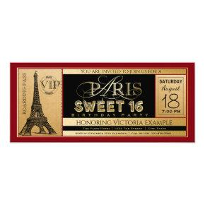 Red Black Gold Paris Sweet 16 Ticket Invitation