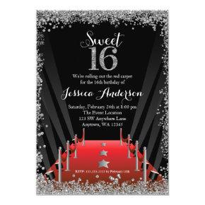 Red Carpet Hollywood Silver Glitter Sweet 16 Invitation