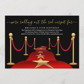 Red Carpet Themed Party with Faux Gold Foil Invitation