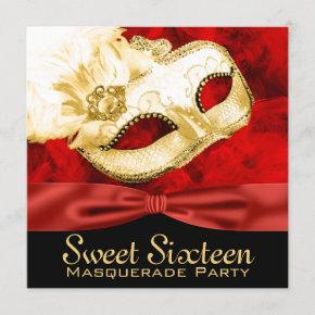 Red Gold Feather Sweet 16 Masquerade Party Invitation