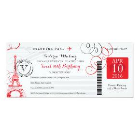 Red Paris Eiffel Tower | Sweet 16 Birthday Invitation