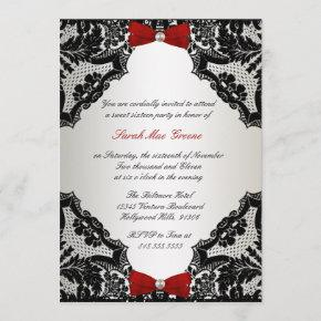 Red, white and Black lace Sweet 16 Invitation