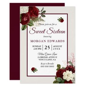 Romantic Burgundy Floral Sweet 16 Party Invite
