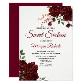 Romantic Burgundy Red Rose Floral Sweet 16 Invite