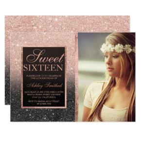 Rose gold black glitter ombre photo Sweet SIxteen Invitation