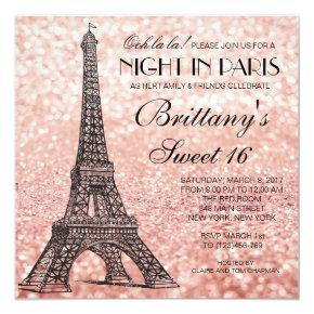 Rose Gold Eiffel Tower Paris Sweet 16 Invitation