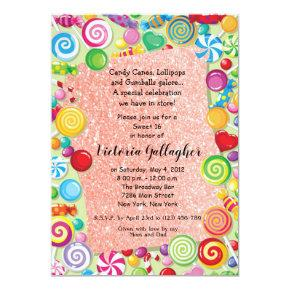 Rose Gold Glitter Candyland Sweet 16 Invite