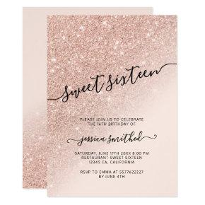 rose gold glitter elegant chic typography Sweet 16 Invitation