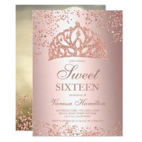 Rose gold glitter photo foil crown tiara Sweet 16 Invitation