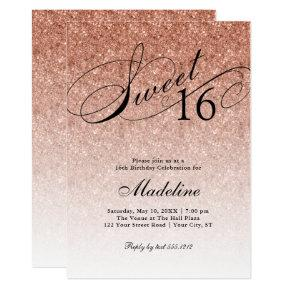 Rose Gold Glitter Sweet 16 Fancy Script Invitation