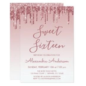 Rose Gold Sparkle Glitter Sweet Sixteen Birthday Invitation