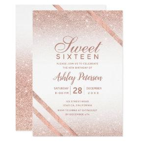 Rose gold typography stripe glitter white Sweet 16 Invitation
