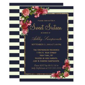 Roses Navy Stripes and Gold Sweet 16 Invitations