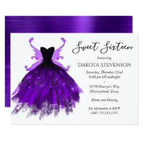 Royal Purple Luxe Gown and Fairy Wings Sweet 16 Invitation
