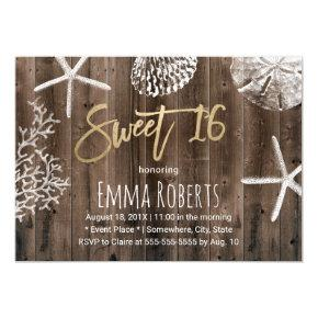 Rustic Beach Sweet 16 Starfish Seashells Birthday Invitation