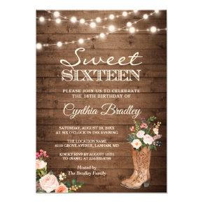 Rustic Boots Cowgirl Sweet Sixteen 16 Invitation
