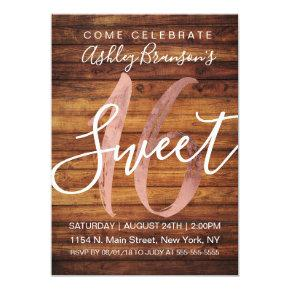 Rustic Country Faux Rose Gold Foil Wood Sweet 16 Invitation