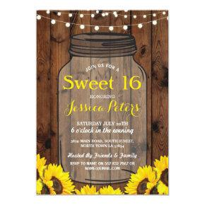 Rustic Jar Sweet 16 Party Wood Sunflower Invite